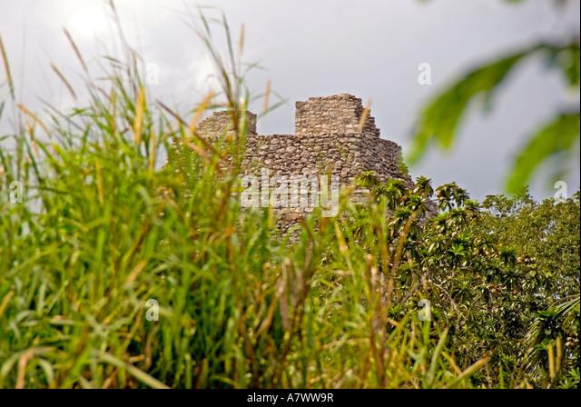 Costa Maya Mexico Chacchoben Mayan temple ruin - Stock Image