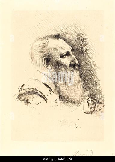 Albert Besnard, Auguste Rodin, French, 1849-1934, 1900, etching in black on cream wove paper - Stock-Bilder