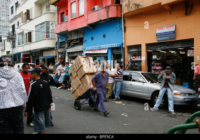 Street scene in Central downtown Sao Paulo, Brazil. - Stock Image