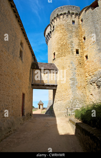Medieval wattle and daub passageway crossing the Lists of the Chateau de Fenelon, Dordogne, Aquitaine, France - Stock Image