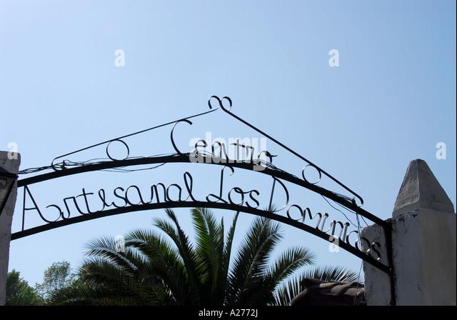 Chile Santiago Pueblito de Los Domínicos shopping entrance sign - Stock Image