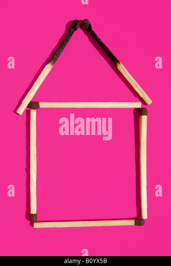 Matchstick house, elevated view - Stock Image