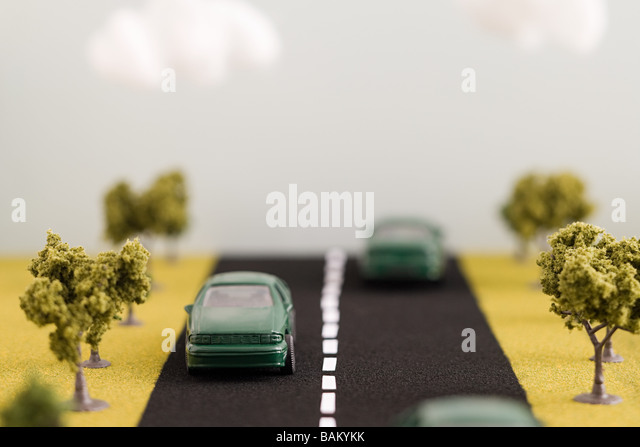 Electric cars on road - Stock Image