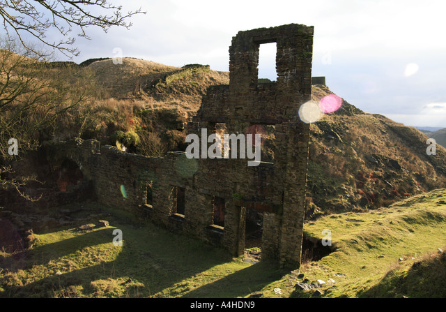 Cheesden Lumb Lower Mill archaeological remains Cheesden Valley Heywood near Lancashire UK - Stock Image