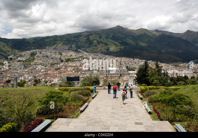 Tourists at Parque Itchimbia - Quito, Ecuador - Stock Image