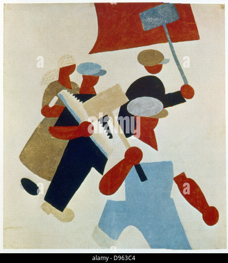 The Demonstration. Workers march. Poster. Soviet Russia, 1920. - Stock-Bilder