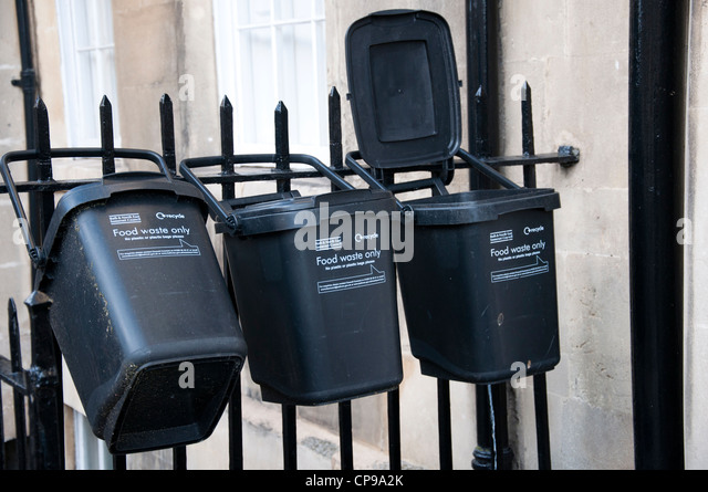 food waste bins provided by Bath & North East Somerset Council. - Stock Image