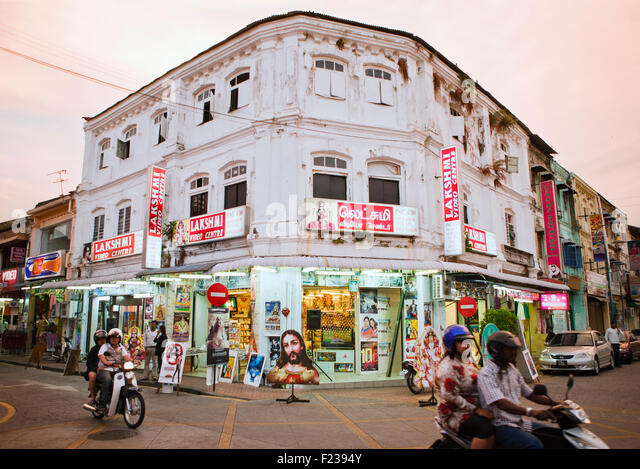 Little India at dusk. Georgetown,Penang, Malaysia - Stock Image