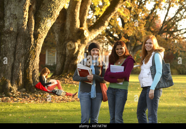 Group of female college students - Stock Image