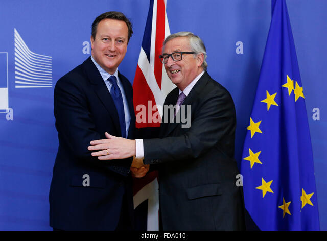 Brussels, Belgium. 29th Jan, 2016. European Commission President Jean-Claude Juncker (R) meets with British Prime - Stock Image