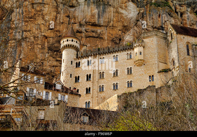 old town of Rocamadour, Lot Department, Aquitaine, France - Stock-Bilder