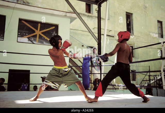 Cuba Havana Young boys in a boxing match - Stock Image
