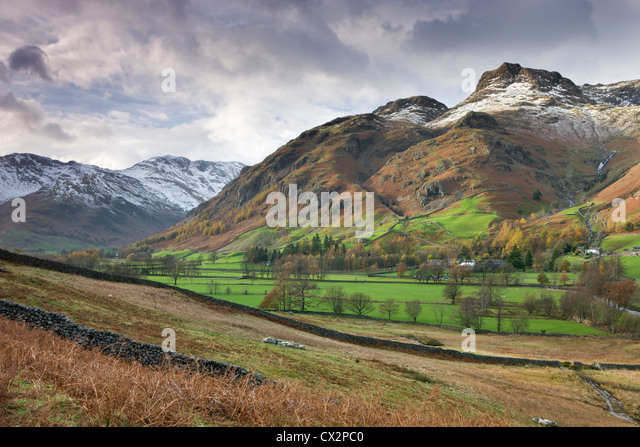 Great Langdale and the Langdale Pikes, Lake District National Park, Cumbria, England. Autumn (November) 2010. - Stock Image