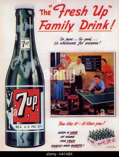 7UP advert 1954 - Stock Image