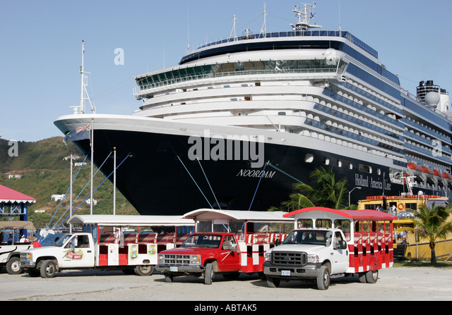 BVI Tortola Road Town Cruise Ship Dock Holland America Caribbean cruise ms Noordam tour vehicles - Stock Image