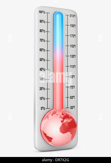 Thermometer illustrating climate change / global warming - Stock Image