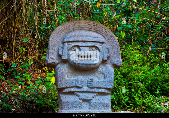 Rain God with Rainbow crown, , San Agustin Archaeological Park, Colombia, 3000 year statues from unknown culture - Stock Image