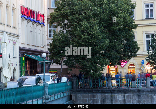 Music club Karlovy lazne, Prague, old town, river Vltava, Czech republic, Smetanovo nabr. - Stock-Bilder