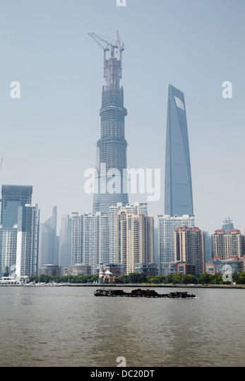 Shanghai Tower and Shanghai World Financial Center, Shanghai, China - Stock Image