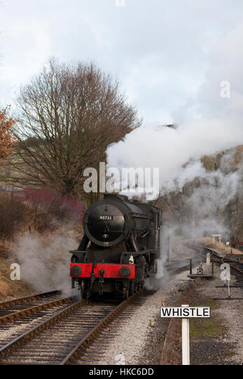 Steam locomotive 90733 on the Keighley & Worth Valley Railway, Oxenhope, West Yorkshire - Stock Image