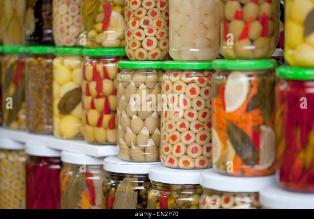 Moroccan food in jars - Stock-Bilder