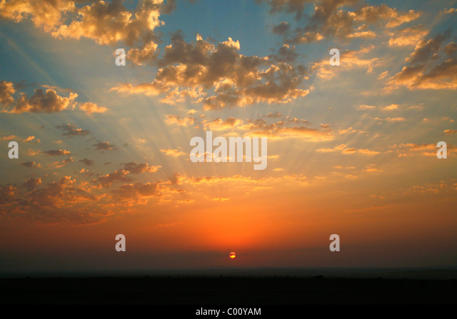 Sunset in Wadi Araba, Jordan. - Stock Image