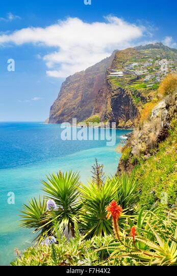 Madeira Island landscape- Cabo Girao cliff - Camara de Lobos, Portugal - Stock Image