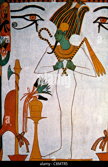 Luxor Egypt Valley of the Queens Town Convent Tomb Painting - Stock-Bilder