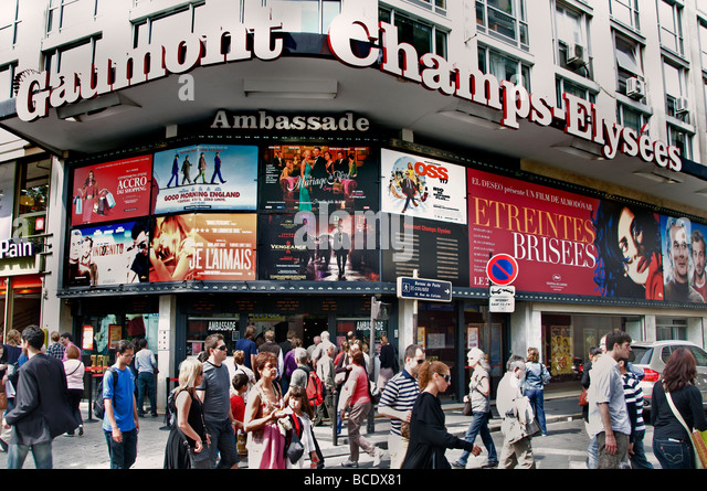 Anenue Des Champs Elysees Paris cinema movies movie theatre Pictures - Stock Image