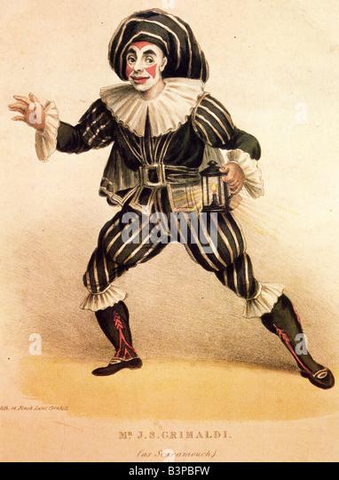 JOSEPH GRIMALDI  English comic actor, singer and acrobat seen here as Scaramouche - Stock Image