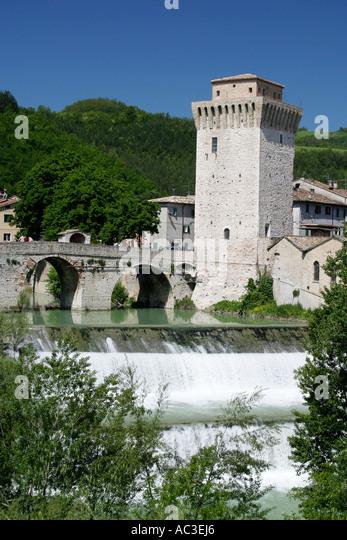 Sassoferrato bridge and   waterfall  in  the  Le Marche Italy - Stock Image