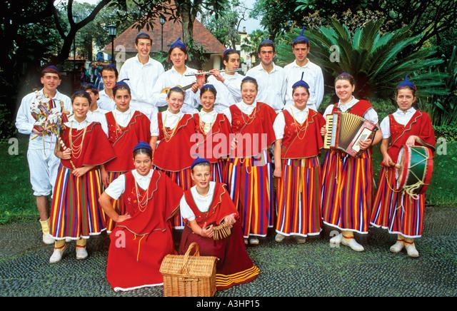 Folkloric group of Camacha posing for photo, Camacha, Madeira Island, Portugal, Europe - Stock Image