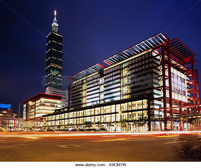 Building Night View Asia - Stock Image
