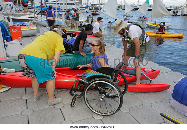 Miami Coconut Grove Florida Shake-a-Leg Miami No Barriers Festival disabled physical disability handicapped adaptive - Stock Image