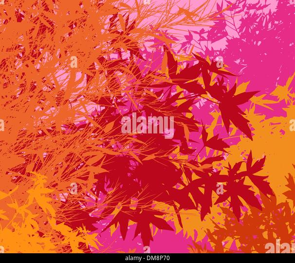 Colorful landscape of foliage - Vector pop illustration  - The different graphics are on separate layers so they - Stock Image