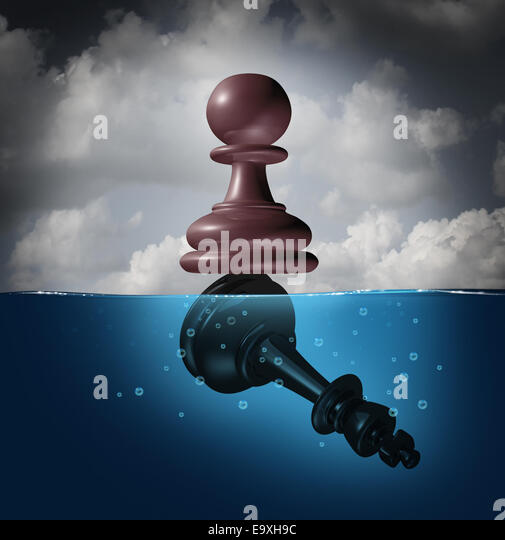 Winner and champion success concept as a chess pawn piece standing on top of a drowning king as a business metaphor - Stock-Bilder