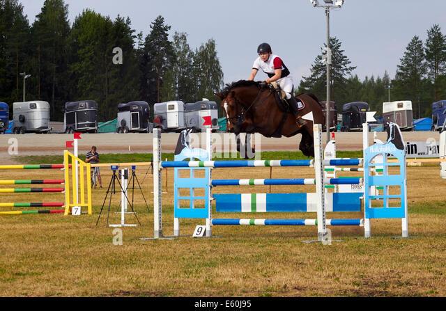 show jumping horse, Lappeenranta Finland - Stock Image