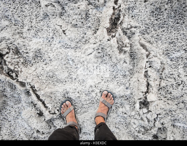Salt at Badwater Basin in Death Valley National Park - Stock Image