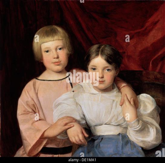 'Children', 1834. Ferdinand Georg (1793-1865). Artist: Ferdinand Georg Waldmuller - Stock Image