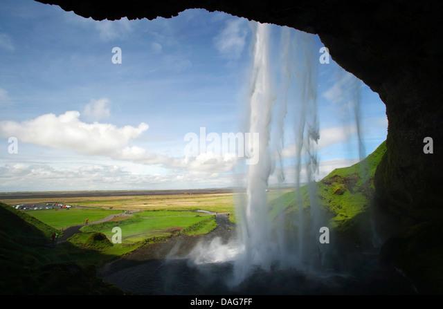 Seljalandsfoss Waterfall - South Iceland - Stock Image