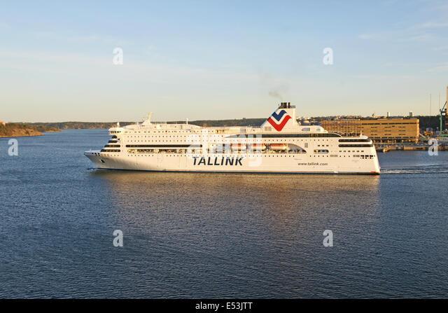 Tallink ferry Romantika leaving Vartahamnen in Stockholm Sweden for Mariehamn & Tallinn - Stock Image