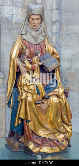 LEUVEN - SEPTEMBER 3: Polychrome statue of st. Ann in st. Peters gothic cathedral from early 16. cent. in September - Stock Image