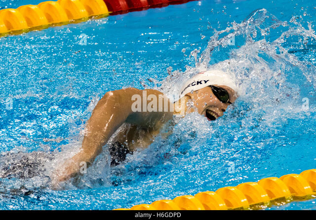 Rio de Janeiro, Brazil. 7 August 2016 .Katie Ledecky (USA) competing in the Women's 400m Freestyle heat at the - Stock Image