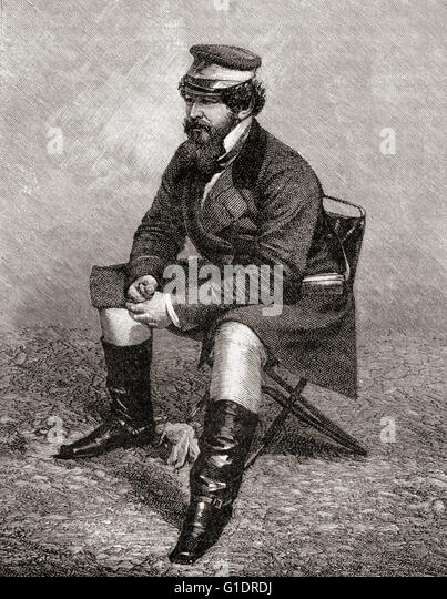 Sir William Howard Russell, 1820 - 1907.  Irish reporter with The Times, seen here as correspondent in the Crimea - Stock Image