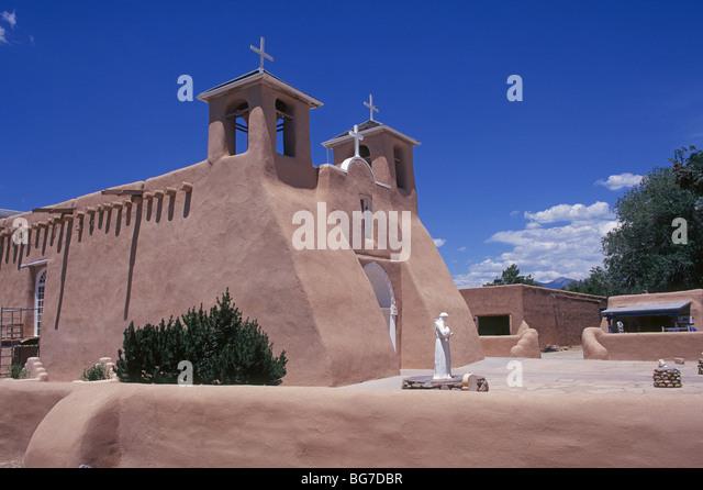 San Francisco de Asis, or St Francis of Assisi church in Ranchos de Taos, New Mexico - Stock Image