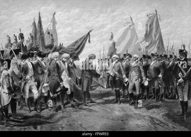 Vintage Revolutionary War print showing the surrender of British troops to General George Washington and the Continental - Stock Image