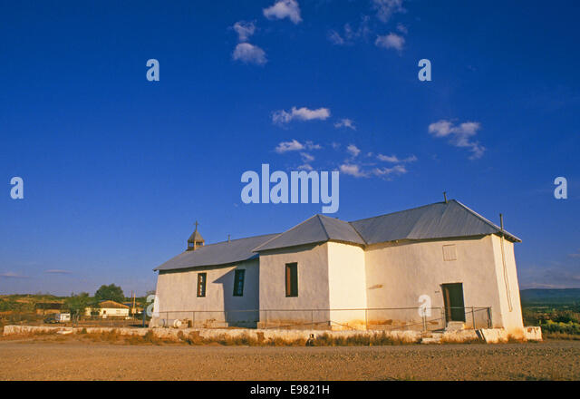 The small catholic church in San Jose, New Mexico on the Santa Fe Trail, built about 1800. - Stock Image