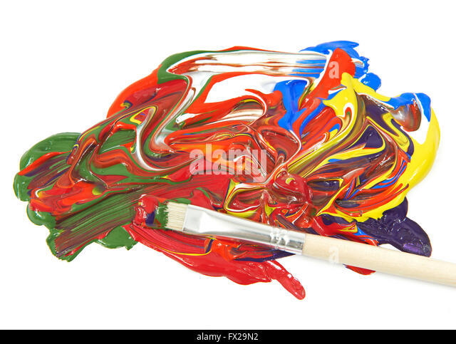 Acrylic colors and paint brush on a white background - Stock Image