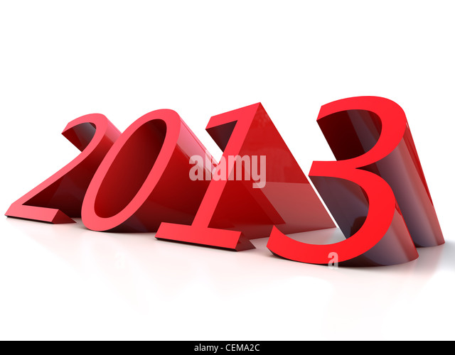 New Year 2013 over white Background - Stock Image