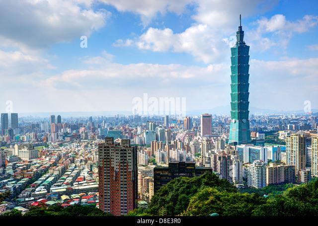 Skyline of Xinyi District in downtown Taipei, Taiwan. - Stock Image